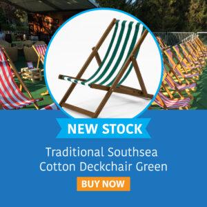 Traditional Southsea Cotton Deckchair Green